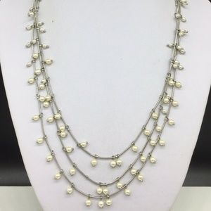 Anne Klein Faux Pearl Beaded Silver Necklace